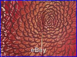 1224S02z1190 Vintage Japanese Kimono Silk HOUMONGI Dark red Chrysanthemum