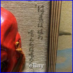 13 cm Japanese Wooden Hand Carving Sculpture Traditional Mask Vintage Rare Mint