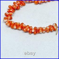14k Gold Vintage Japanese Natural Orange Red Momo Coral Bead Necklace Dog Bone