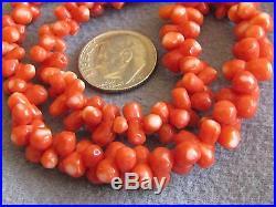 16.5 Vintage Japanese Natural Orange Red Momo Coral Bead Necklace Dog Bone