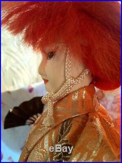 16vtg Antique Long Red Hair Japanese Samurai Warrior Silk Cloth Doll Figurine