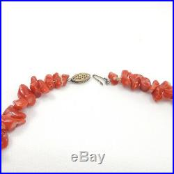 17 Vintage Japanese Red Momo Coral Bead Necklace 14K Fish Hook Clasp 60 grams