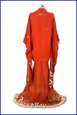 1920s Drop Waist Ceremonial Japanese Red Silk Formal Wedding Kimono Uchikake