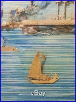 1940 Japanese Cork Diorama Framed Pagoda Cherry Blossom On Blue Silk Signed VTG