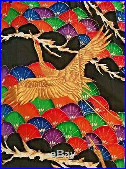 1940's Vtg Brocade JAPANESE Wedding UCHIKAKE Kimono-GOLD Thread RED Head Cranes