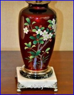 21 Japanese Vintage Cloisonne Vase Lamp-asian Oriental Porcelain Enamel