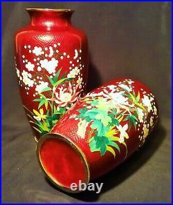 2 SATO mirror image vtg japanese cloisonne vase pair enamel ox blood red cherry