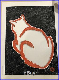 2 VINTAGE JAPANESE WOODBLOCK PRINTS SADANOBU HASEGAWA RED & WHITE CATS 1950's