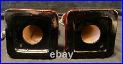 2 Vintage Japanese Ceramic Table Lamps Oxblood Pigeon Blood Red Gold MCM