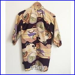 30s 40s Japanese Haori Floral Cloud Bird Hanten Jacket Silk Kimono Robe XS