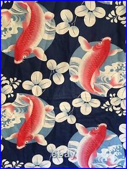 6.25 Yd FAB Vintage Japanese Koi Fabric Yardage Indigo Blue Red Cotton