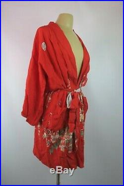 70's Vtg Silk Kimono Japanese Robe Red Floral Belted Made in Japan