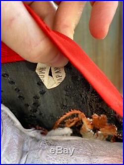 Antique 1930s Black & Red Robe Kimono Bird Embroidery Japanese Export Vintage