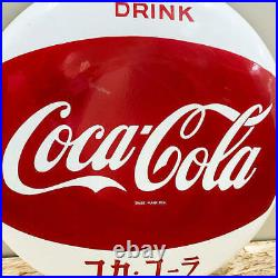 Antique Coca Cola Metal 1960s Round Sign Vintage Retro Japanese Version