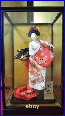 Antique Japanese Doll in Kimono 17 in Glass Case BEAUTIFUL vintage Red MINT