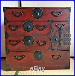 Antique Japanese Furniture Clothes Chest Interior cabinet Chestnut Wood Tansu
