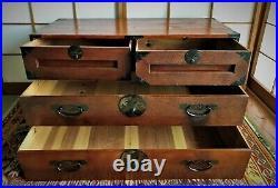 Antique Japanese Furniture Interior Cabinet 1900s Tansu Craft Brown L. 37inch