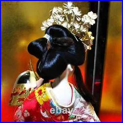 Antique Japanese Geisha Doll in Kimono 18.5 47cm n glass case Vintage Gorgeous