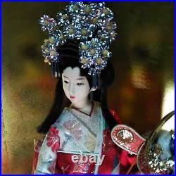 Antique Japanese Geisha Doll in Kimono 18.5 47cm wooden base Vintage Gorgeous
