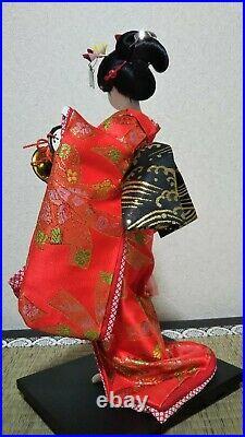 Antique Japanese Geisha doll in Kimono in glass case 13-17 33-43cm Vintage