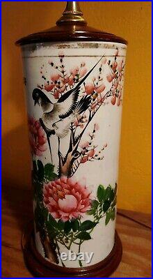 Antique Japanese Hand Painted Porcelain Vase, Bird, flowers and cherry blossoms