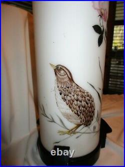Antique Japanese Table Lamp Shoji GLASS Tubular Hand Paint Cherry Blossom Quail
