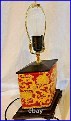 Antique Oriental Red Asian Japanese Chinese Lamp 18 Tall