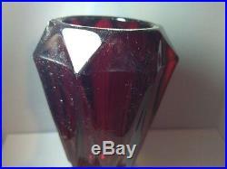 Antique Vintage Brass Ruby Red Japanese Crystal Table Top Cigarette Lighter