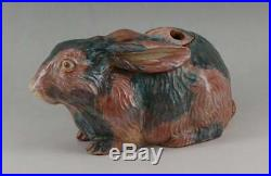 Antique Vintage Japanese Raku Ware Pottery Rabbit Koro Incense Burner Censer Big