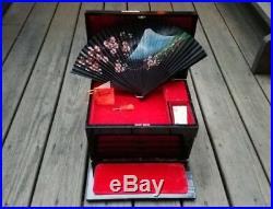 Antique Vintage Japanese Wood Music Jewelry Box Black Mt. Fuji Red Velvet 5 Tray