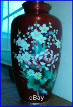 Antique Vintage STAMPED ANDO JUBEI CLOISONNE REPOUSSE 10 Red Bloody Vase JAPAN