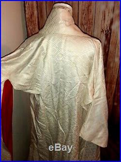 Authentic Japanese Uchikake Shiromuku Wedding Kimono Red White Vintage MCM