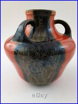 Awaji Tri-Handled Pottery Art Deco Japanese Vintage Studio Vase in Red-6x6