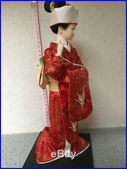 BEAUTIFUL VINTAGE JAPANESE PORCELAIN DOLL GLASS EYES SILK Red Kimono Geisha