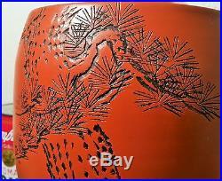 BONSAI Tokoname japanese red studio pottery poem vase vtg ikebana pine tree art