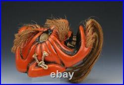 Beautiful Old Vintage Japanese Pottery Noh Mask -Kagura- Buddhism Mask Plaque