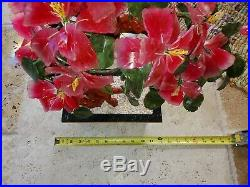 Beautiful Vintage JAPANESE GLASS CARVED PINK CHERRY BLOSSOM Bonsai Tree
