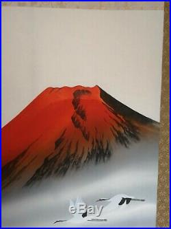 Big Japanese Wall Scroll Red Mount Fuji 210cmx60cm Art Vintage GREAT CONDITION