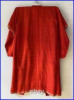 Bright Red Silk Long Kimono Robe Authentic Japanese Vintage