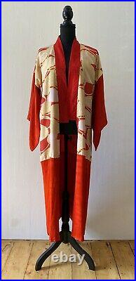 Bright Red Yellow Silk Long Kimono Robe Authentic Japanese Vintage