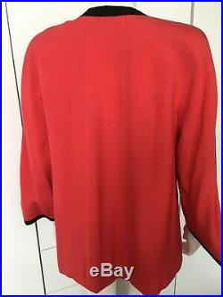 CHANEL linen jacket blazer vintage S M 10 36 red chinese japanese oriental top
