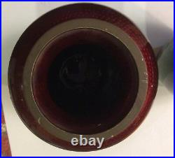 Christmas pair of Vintage Japanese Cloisonne 7 Vase, Roses on Red and green