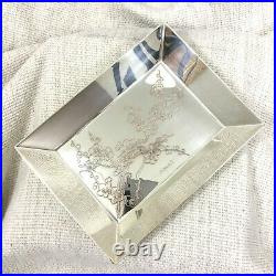 Christofle Desk Tray Catchall Bowl Dish Japanese Cherry Blossom Flower Engraving