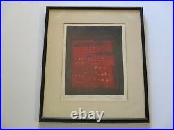 Eiko Kawakubo Embossed Etching Vintage 1960's Abstract Expressionism Japanese