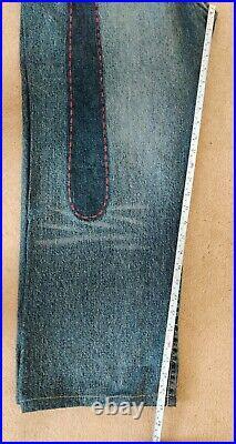 Evisu Daicock Jeans Stonewash Distressed Blue Red W38 Vintage RRP £349 VGC
