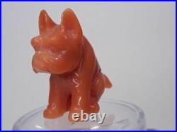 Fine Vintage Momo Coral carving of a seated Pug dog French or Japanese