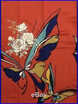 Furisode Kimono Robe L Size Silk Butterfly Design Wedding Dress Vintage Red F/S