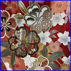 Furisode Kimono Robe L Size Silk Cherry Blossoms Wedding Dress Vintage Red F/S