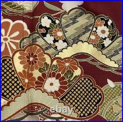 Furisode Kimono Robe L Size Silk Floral Design Wedding Dress Vintage Red F/S