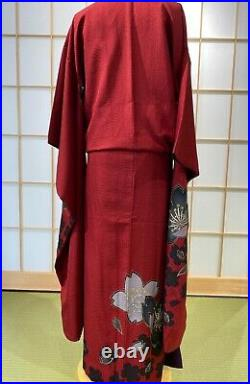 Furisode Kimono Silk Dark red, cherry blossom Dress Vintage from japan No, 395